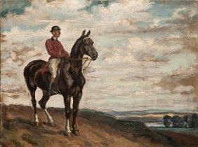 Fryderyk Pautsch (1877 - 1950), A Rider, 1908, Oil On