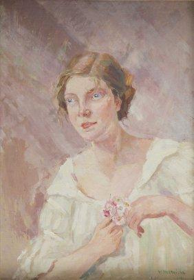 Wanda Chelmonska (1891 - 1971), Girl With Flowers,