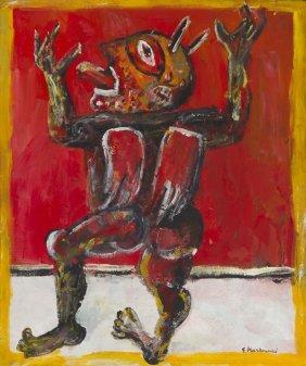 """Eugeniusz Markowski (1912 - 2007) """"diablo""""; Oil On"""
