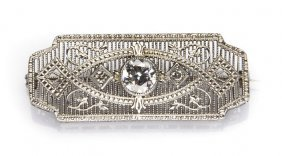 Art Deco Brooch, 1920s-30s; White Gold, 1 Diamond ~