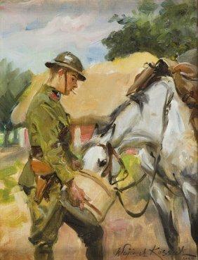 Wojciech Kossak (1856 - 1942), Horse Feeding, 1937, Oil