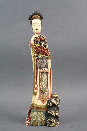 Polychrome Ivory Carved Court Lady W/QianLong Mark