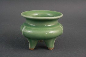 Green Glazed Tripod Censer