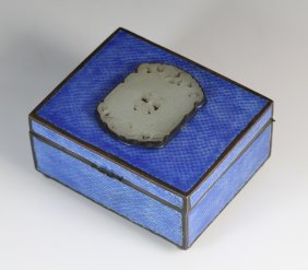 19th Century Chinese Jade Plaque Inlaid Enamel Box