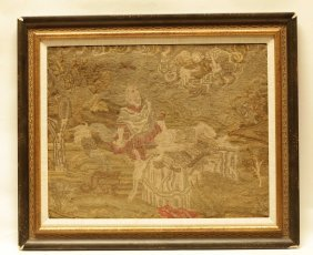 17th C. A Sawing Ninle Point Judaica Painting