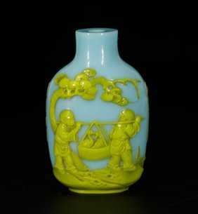 Chinese Sky Blue Peking Glass Snuff Bottle