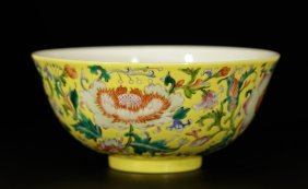 Chinese Yellow Glaze Famille Rose Flower Bowl