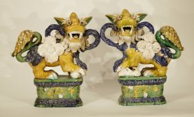 Pair Of 20th C. Chinese Porcelain Foo Dogs