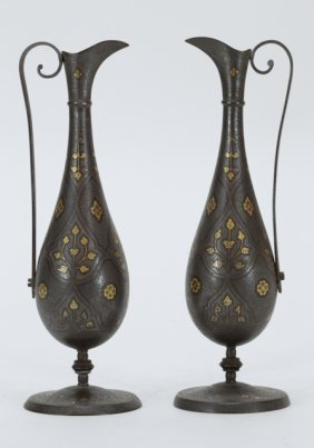 Pair Of Antique Gold Inlaid On Iron Ewer