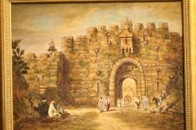 Jewish Oil Painting On Canvas W/ Gilt Frame,signed