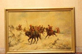 19thco Ailpaintig On Cardboard Of Warrior On Horse