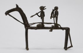 African Metal Horses W/ Two Warriors