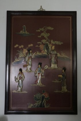 Chinese Lacquer Screen W/ Soapstone Inlaid