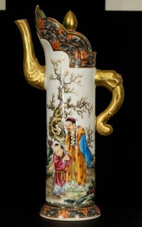 Chinese Enamel Style Porcelain Pitcher