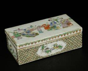 Rose Medallion Green Covered Box