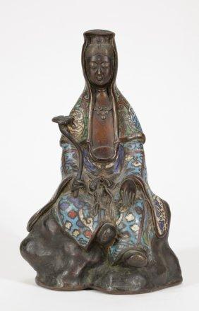 19th C. Chinese Enamel Bronze Guanyin