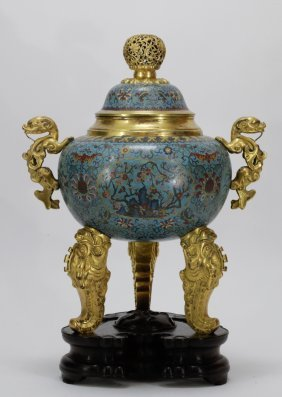 19th C. Chinese Cloisonne Enamel Incense Burner