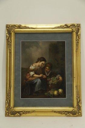 """kpm"" Plaque Of Food Sellers,gilt Frame"
