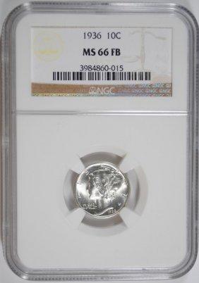 1936 Mercury Dime, Ngc Ms-66 Full Bands