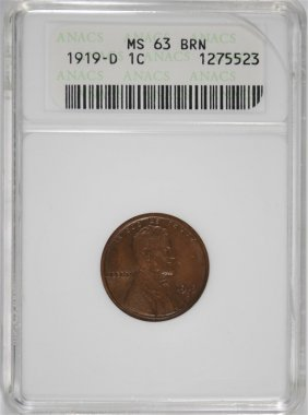 1919-d Lincoln Cent Anacs Ms63 Brn