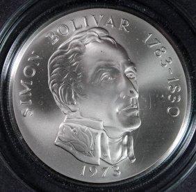1973 20 Balboas Republica De Panama Silver Round