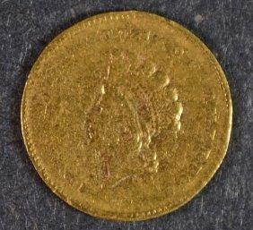 1855-c $1 Gold Vf/xf Rim Bumps Rare Charlotte Issue