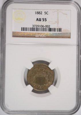 1882 Shield Nickel, Ngc Au-55
