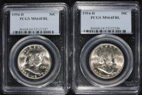 ( 2 ) 1954-d Franklin Half Dollars, Pcgs Ms-64 Fbl