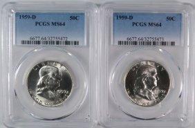 ( 2 ) 1959-d Franklin Half Dollars, Pcgs Ms-64