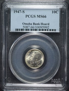 1947-s Roosevelt Dime Pcgs Ms 66 From The Omaha Bank