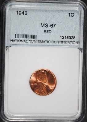 1946 Lincoln Cent Nnc Graded Superb Bu Red