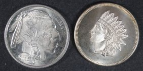 ( 2 ) One Ounce .999 Silver Rounds Both Have Indians