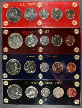 1957, 1958, 1961 & 1963 U.s. Proof Sets In Capitol