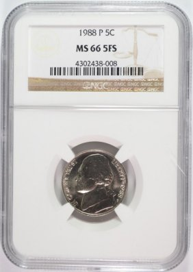1988 Jefferson Nickel Ngc Ms66 5 Full Steps Rare