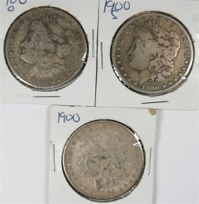 3 - Silver Morgan Dollars; 1900, 1900-o & 1900-s, Circ
