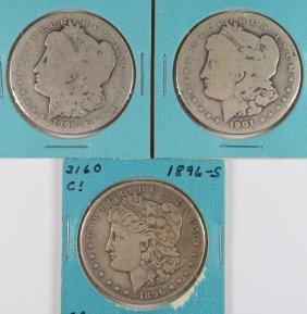 3 Morgan Dollars 1901-o Ag Rim Bumps, 1896-s Fine &