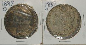 2 - Morgan Silver Dollars; 1887-o & 1889-o