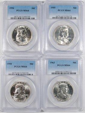 1955, 56, 58 & 63 Franklin Half Dollars, Pcgs Ms-64