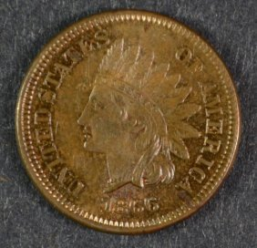 1866 Indian Head Cent Ch Bu Red Brown