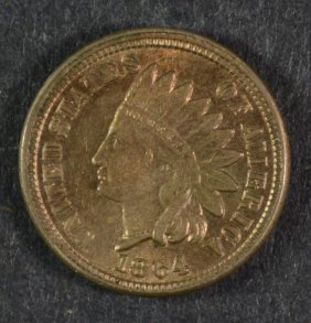 1864 Copper Nickel Indian Head Cent Ch Bu + Nice