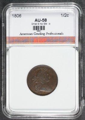 1806 Half Cent ( Small 6 No Stems ) Agp Au/bu