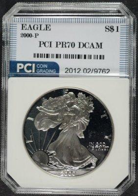 2000-p American Silver Eagle Pci Graded Perfect Proof