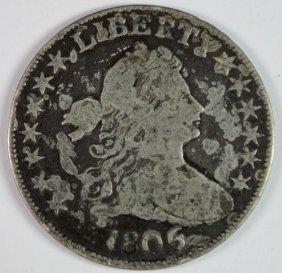 1806 6 Over Inverted 6 Half Dollar Fine But Dark