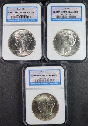 1924 & (2) 1925 Peace Dollars Ngc Brilliant