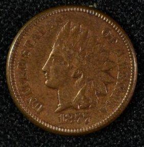 1877 Indian Head Cent, Au+