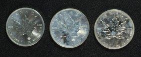 3 - Canada Maple Leaf Silver Dollars - 2012, 2015 &