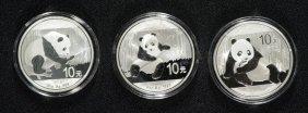 3 - Chinese Panda Silver Dollars - 2014, 2015 & 2016