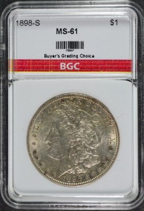 1898-s Morgan Dollar Bgc Graded Ch Bu Key Date