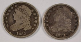 ( 2 ) 1833 Capped Bust Dimes, Fine