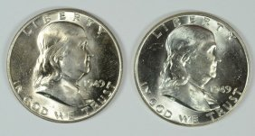 Lot Of ( 2 ) 1949 Franklin Half Dollars, Choice Bu